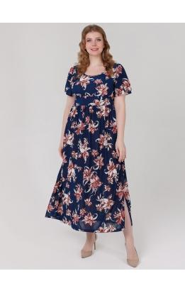 платье Тиволи Принт (темно-синий красные цветы)