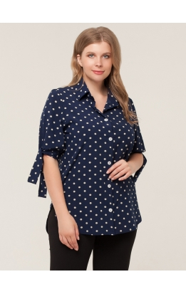 блуза Хилари (синий/горох)