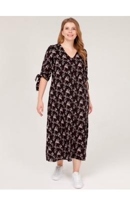 платье Луара (черный/цветы)