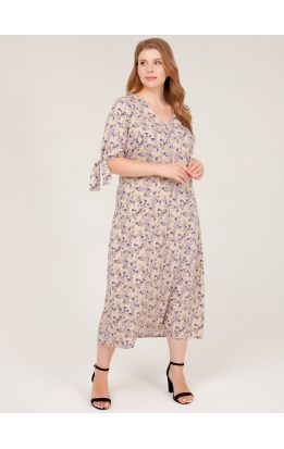 платье Луара (беж/цветы)