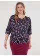 блуза Норма (темно-синий/цветы)