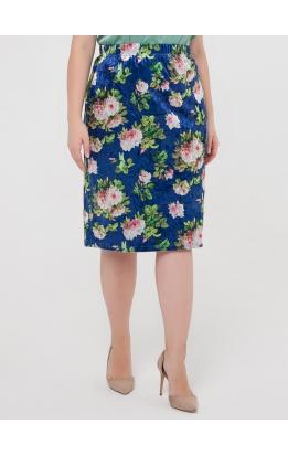 юбка ВелюрПринт (темно-синий/розы)