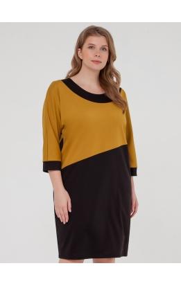 платье Квадро (черный/горчица)