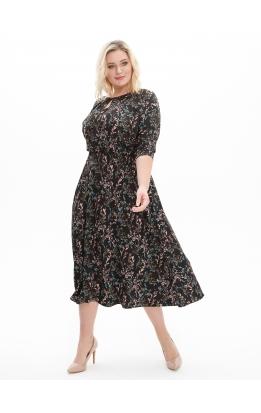 платье Софи2 (черный/цветы)