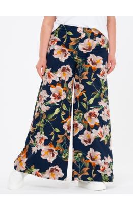 брюки ПринтоКлеш (синий/белые лилии)