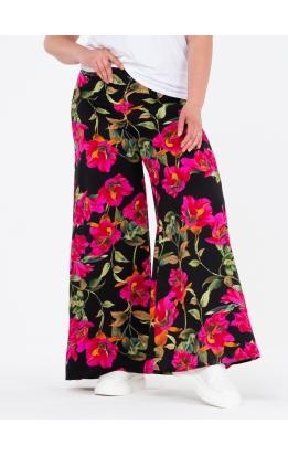 брюки ПринтоКлеш (черный/розовые лилии)