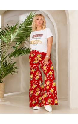 брюки ШтапиСтрейч (бордо/цветы)