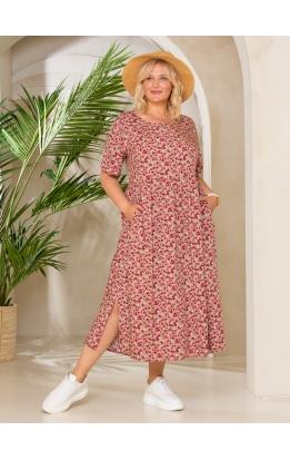 платье Сити Лонг (беж/цветы)