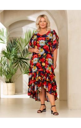 платье Шифон (темно-синий/цветы)