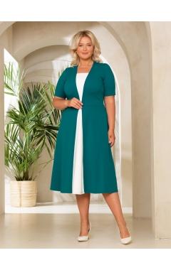 платье СкубаЧелси (зеленый/молочный)