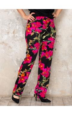 брюки Шенза (черный/розовые лилии)