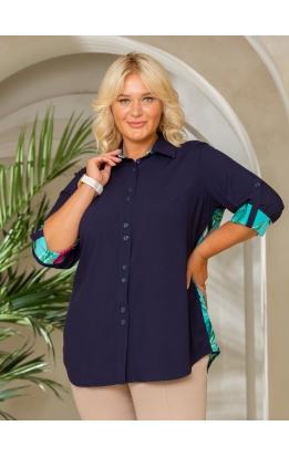 рубашка Наташа (темно-синий/бирюза принт)